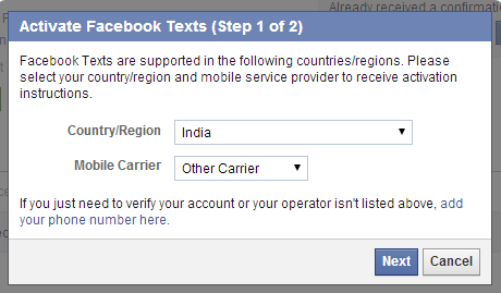 Select country and mobile carrier for fb text sms