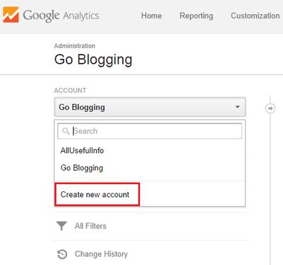 Add new site to Google Analytics