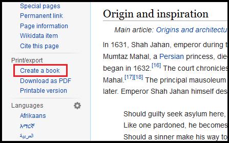 Create a book link in Wikipedia