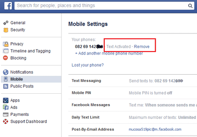 Remove number from Facebook