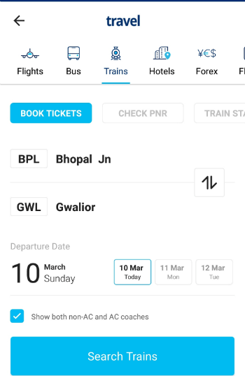 Book train tickets through Paytm app
