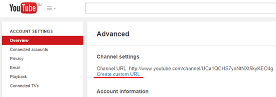 Create custom URL for YouTube