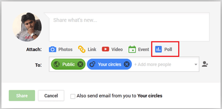 Poll button in Google Plus