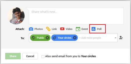 Poll button in Google Plus