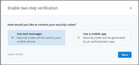 How would you like to receive your security codes?
