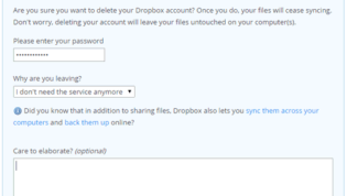 Delete Dropbox account permanently