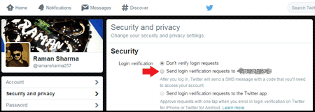 Enable login verification service Twitter