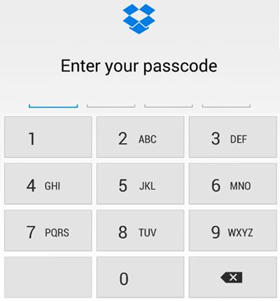 Enable passcode in Dropbox