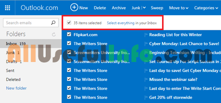 Select everything in Outlook