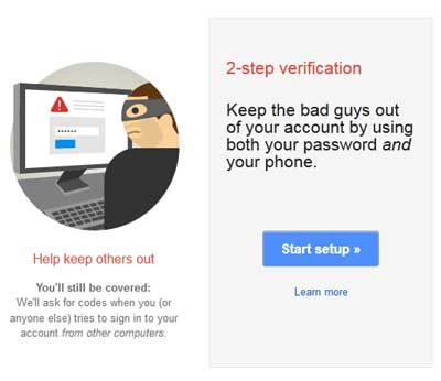 Start setup of 2-step verification