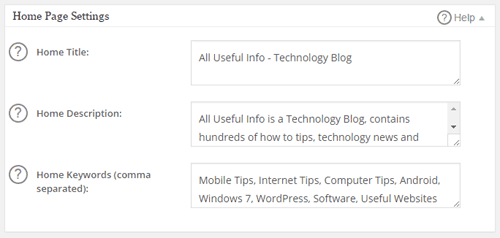 All Useful Info - Home Page Settings