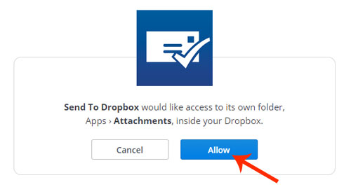 Allow access to Send to Dropbox