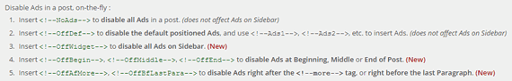 Disable Ads from Individual Posts