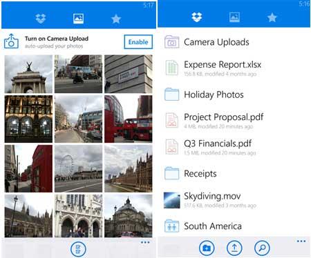 Dropbox App for Windows Phone
