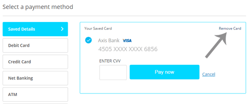 Remove Card from Paytm
