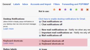 Enable Keyboard Shortcuts in Gmail