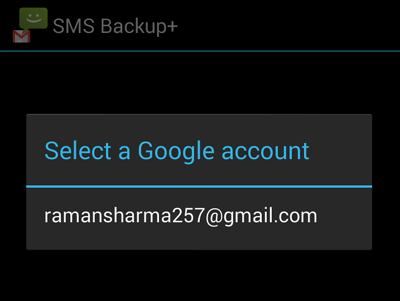 Select Google Account to Connect with SMS Backup+ App
