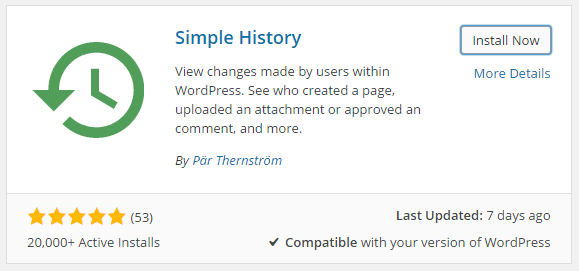 Simple History Plugin