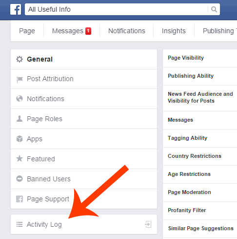 Facebook Page Activity Log