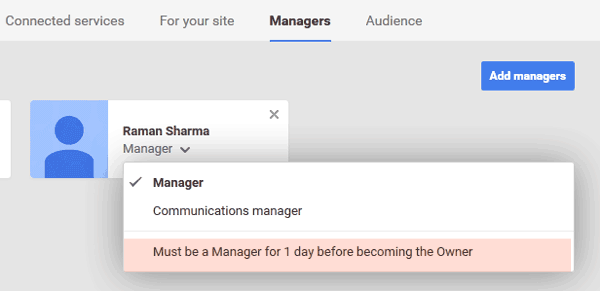 Must be manager for 1 day before becoming owner