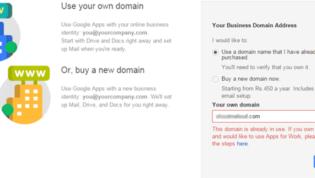 Domain already registered in Google for work