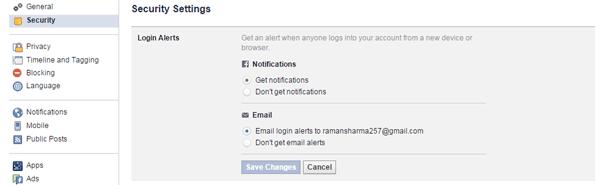 Facebook Login Alerts
