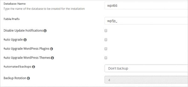 WordPress Install Advanced Settings