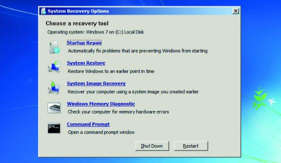 System Recovery Options in Windows