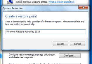 Creating Restore Point using System Restore in Windows