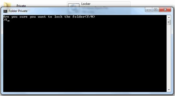 Lock private folder confirmation