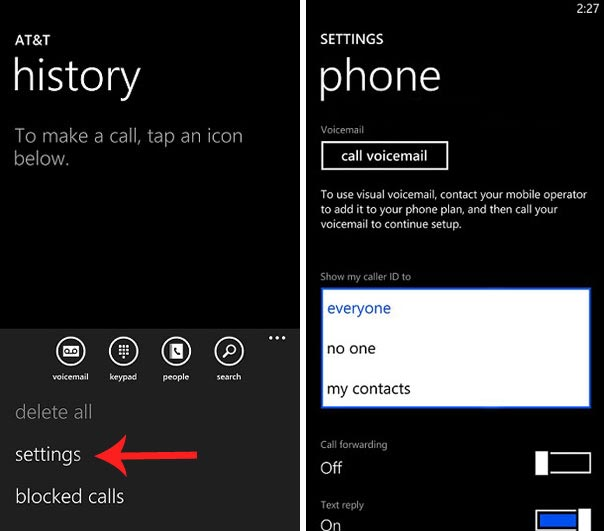 Hide your number while calling from your Windows phone