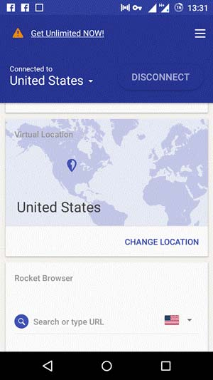 Rocket VPN change location