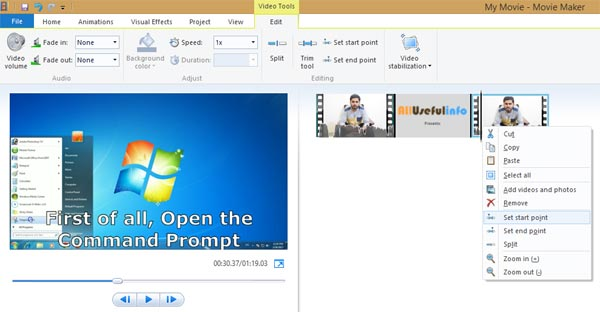 Set start time in Windows Movie Maker