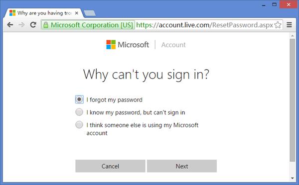 Reset Microsoft account password