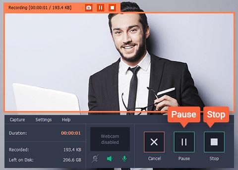 Movavi Screen Recording Stop & Pause