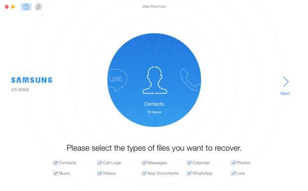 PhoneRescue - choose file types