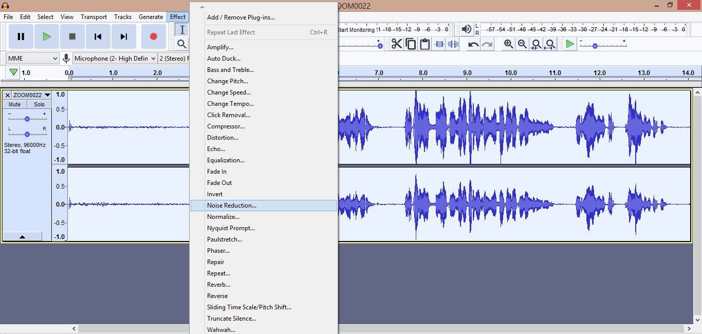 Audacity Noise Reduction Effect