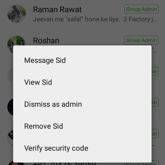 WhatsApp Dismiss as Admin