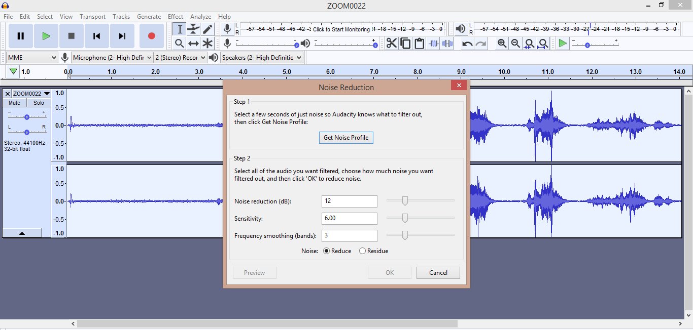 Get Noise Profile & Reduction in Audacity