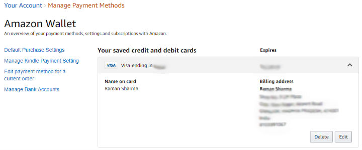 Amazon Wallet - Delete Card Details