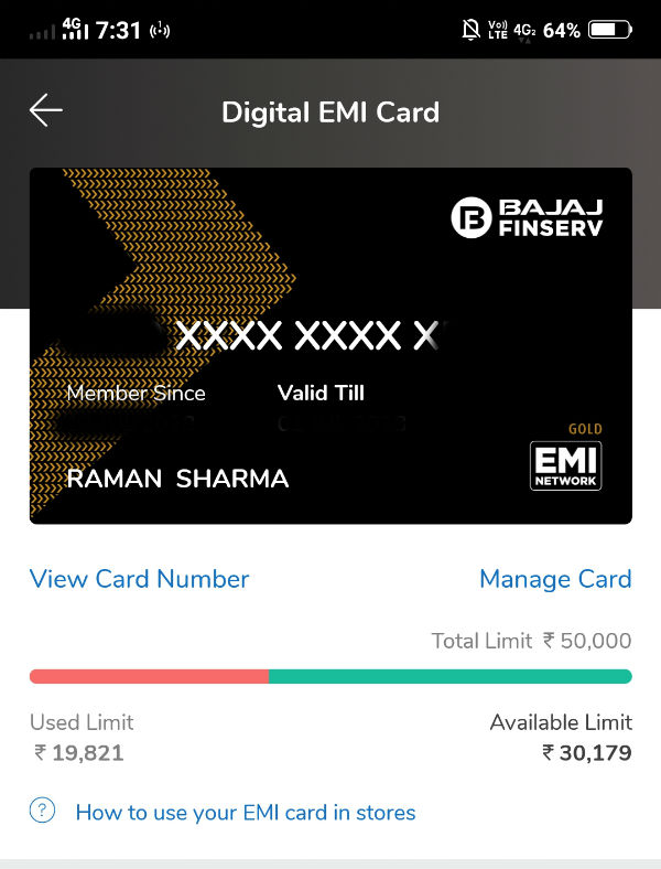Bajaj Finserv Digital EMI Card Number