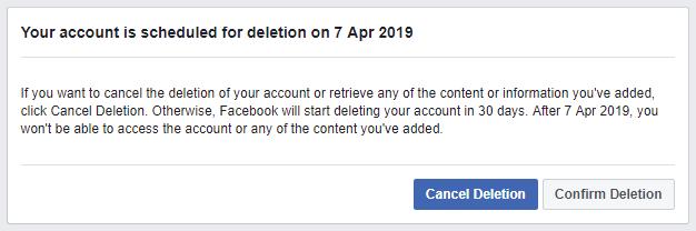 Cancel Facebook Deletion