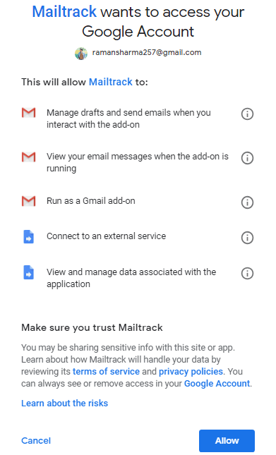 Allow Mailtrack add-on in Gmail to track emails
