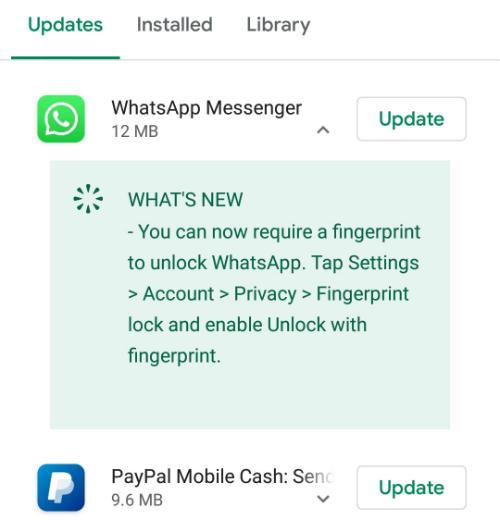 WhatsApp Fingerprint Update
