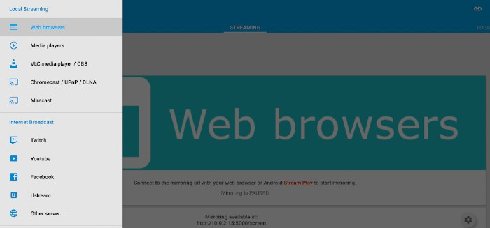Mobzapp Mirroring on Web Browser