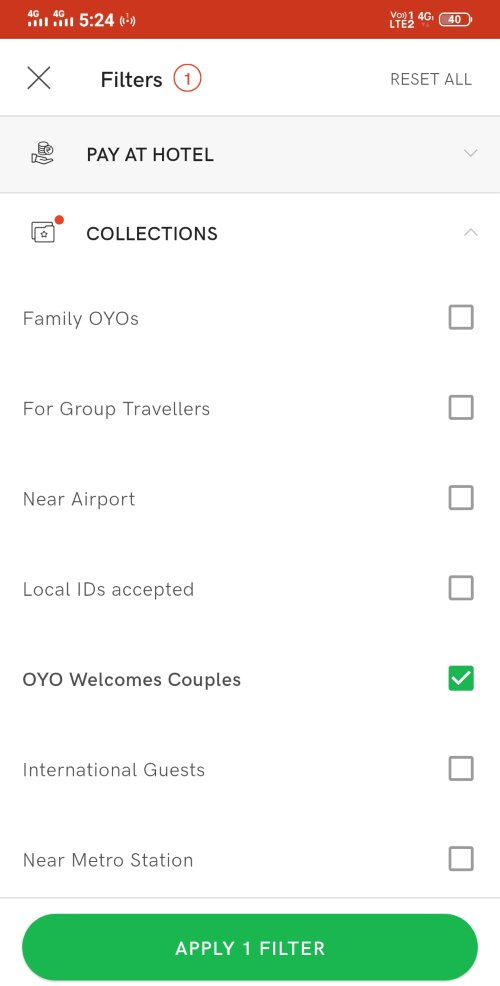 OYO Filters - Welcomes couples