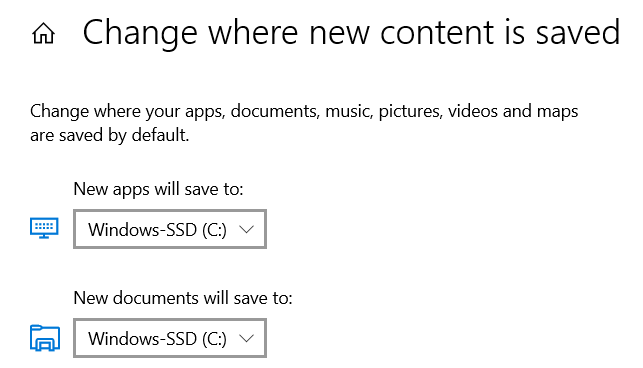 Change where new content is saved in Windows