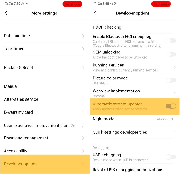 Enable/Disable automatic system updates on Android using Developer Options