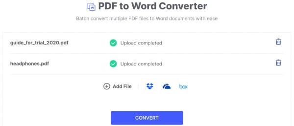 Batch Convert PDF to Word on HiPDF