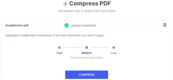 Compress PDF using HiPDF